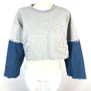 Oak + Fort crop sweatshirt patchwork